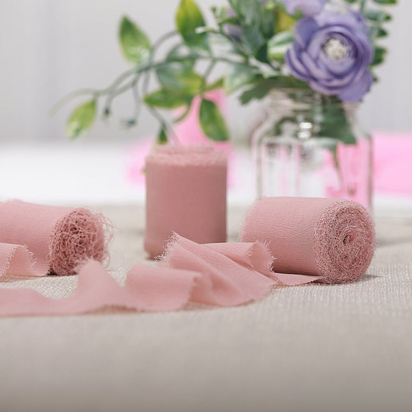 "1.5"" x 6Yard - Set of 2 Dusty Rose Chiffon Ribbon Rolls For Bouquets, Wedding Invitations & Gift Wrapping"