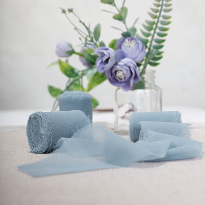Set of 2 Dusty Blue Chiffon Ribbon Rolls For Bouquets, Wedding Invitations & Gift Wrapping