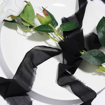 Set of 2 Black Chiffon Ribbon Rolls For Bouquets, Wedding Invitations & Gift Wrapping