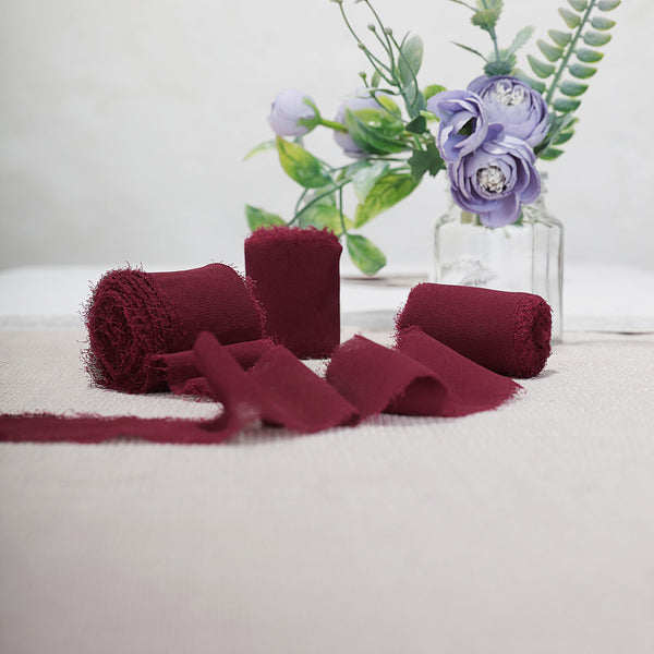 "1.5"" x 6Yard - Set of 2 Burgundy Chiffon Ribbon Rolls For Bouquets, Wedding Invitations & Gift Wrapping"