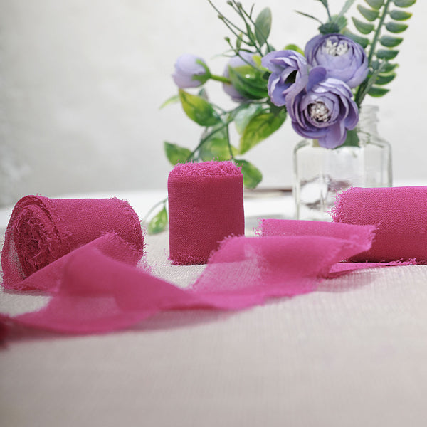 "1.5"" x 6Yard - Set of 2 Fushia Chiffon Ribbon Rolls For Bouquets, Wedding Invitations & Gift Wrapping"