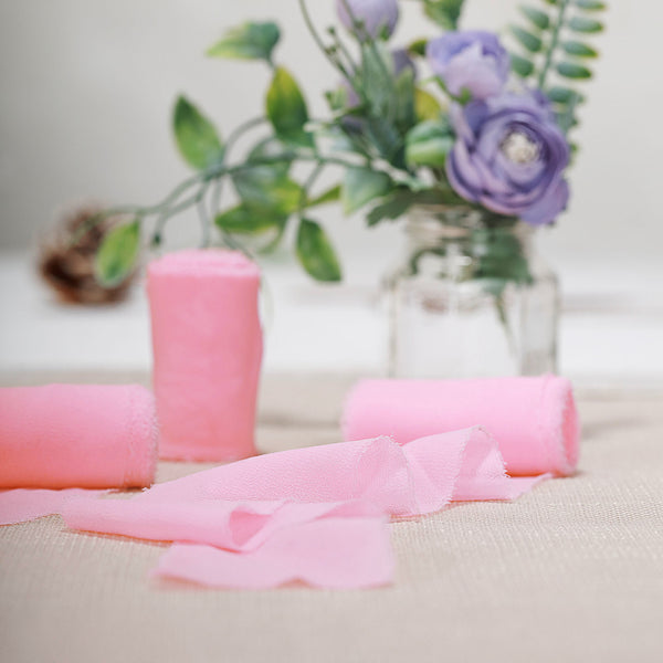 "1.5"" x 6Yard - Set of 2 Pink Chiffon Ribbon Rolls For Bouquets, Wedding Invitations & Gift Wrapping"