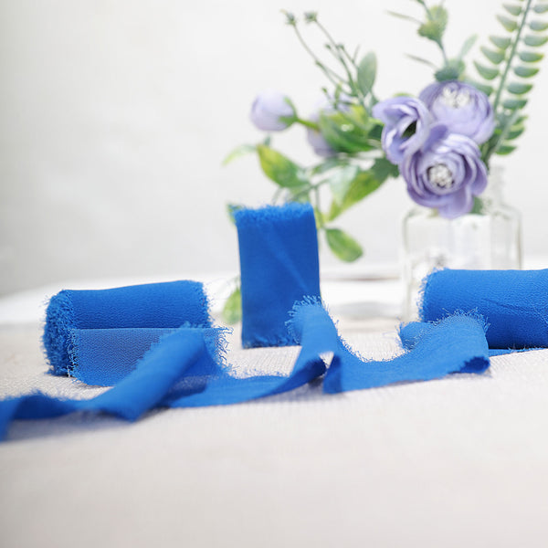 "1.5"" x 6Yard - Set of 2 Royal Blue Chiffon Ribbon Rolls For Bouquets, Wedding Invitations & Gift Wrapping"