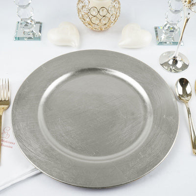 "6 Pack 13"" Round Silver Acrylic Charger Plates Home Dinner Servers"