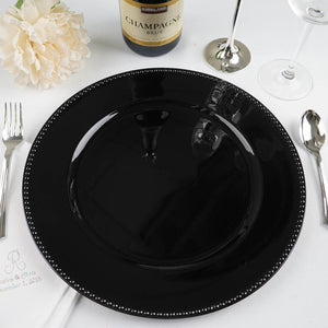 "6 Pack |13"" Black Round Acrylic Beaded Charger Plates"