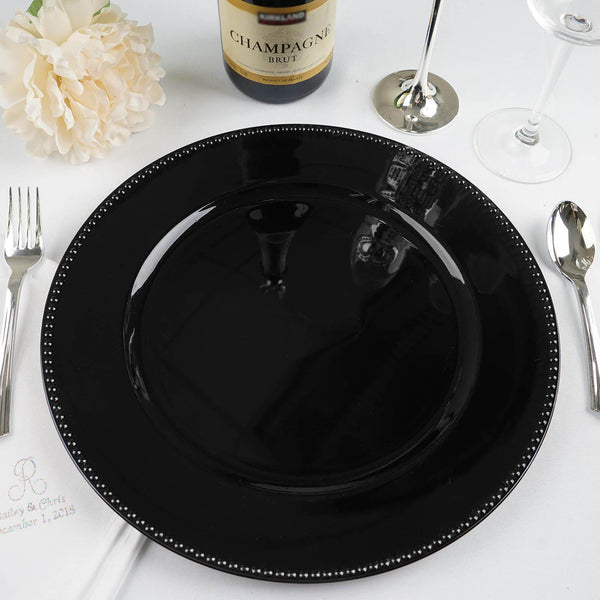 "Pack of 6 |13"" Black Round Acrylic Beaded Charger Plates"