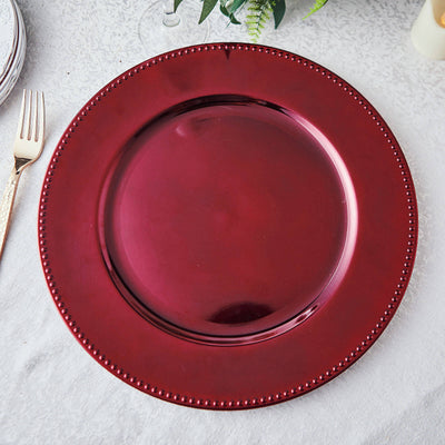 6 Pack | 13 inch Burgundy Round Acrylic Beaded Charger Plates