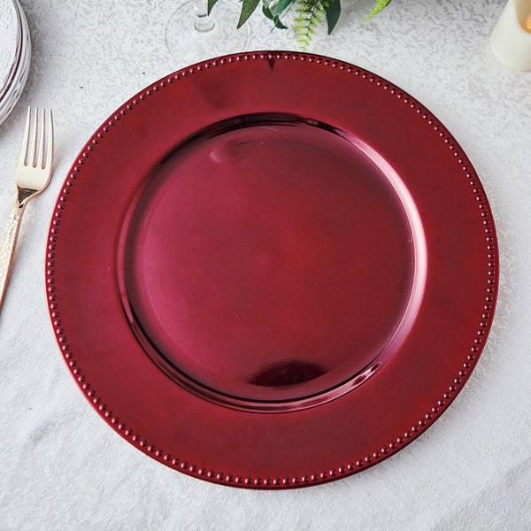 "6 Pack | 13"" Burgundy Round Acrylic Beaded Charger Plates"