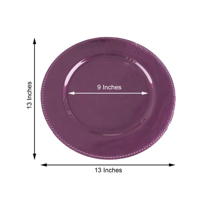 "6 Pack |13"" Eggplant Round Acrylic Beaded Charger Plates"