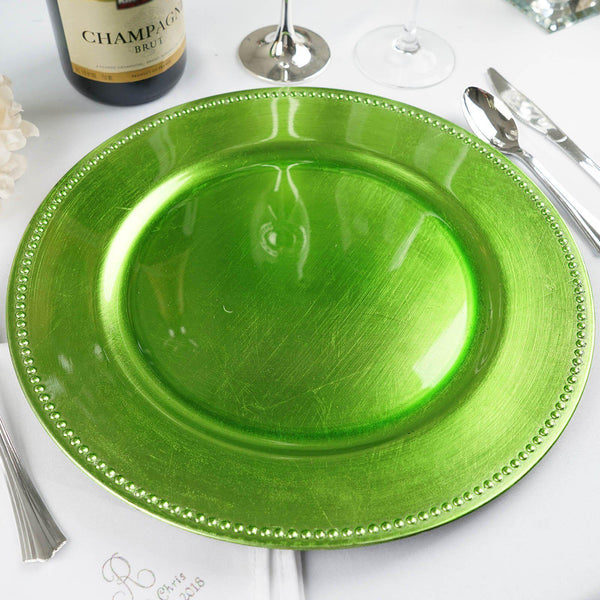 "Pack of 6 |13"" Lime Round Acrylic Beaded Charger Plates"