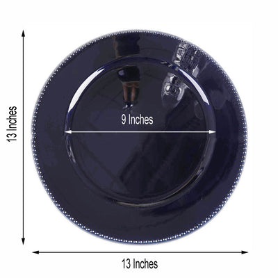 "6 Pack |13"" Navy Blue Round Acrylic Beaded Charger Plates"