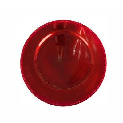 6 Pack |13 Inches Red Round Acrylic Beaded Charger Plates