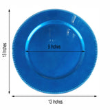 "6 Pack |13"" Royal Blue Round Acrylic Beaded Charger Plates"