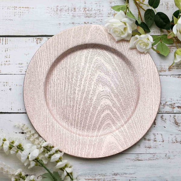 "Pack of 6 |13"" Round Wooden Textured Acrylic Charger Plates - Blush 