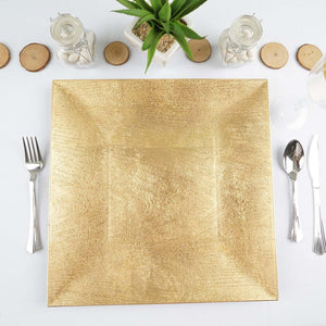 "24 Pack Square 12"" Wooden Textured Gold Acrylic Charger Plates Wedding Party Dinner Servers"