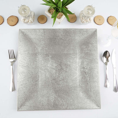 "24 Pack Square 12"" Wooden Textured Silver Acrylic Charger Plates Wedding Party Dinner Servers"