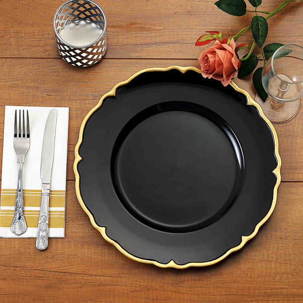 "Pack of 6 | 13"" Black/Gold Scalloped Edge Acrylic Plastic Charger Plates"
