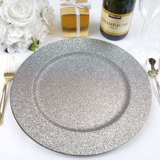 "(Set of 6) 13"" Round Silver Glitter Acrylic Plastic Charger Plates"