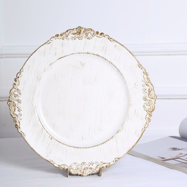 "6 Pack - 13"" White Round Baroque Charger Plates, Leaf Embossed Antique Gold Rim"
