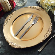 "6 Pack | Gold | 13"" Round Baroque Charger Plates 
