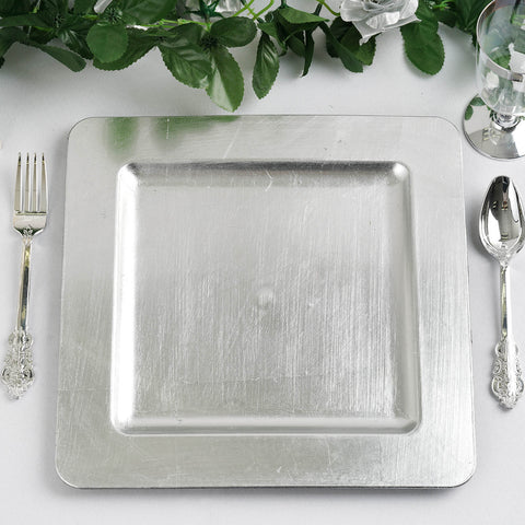 24 Pack Square 11.5  Silver Rim Flat Acrylic Charger Plates Wedding Party Dinner Servers  sc 1 st  Tablecloths Factory & 24 Pack Square 11.5