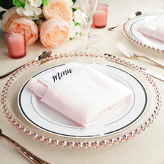 "8 Pack | 12"" Round Rose Gold Beaded Rim Glass Charger Plates"