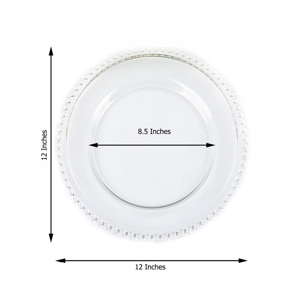 8 Pack 12 Round Clear Beaded Rim Glass Charger Plates Tableclothsfactory