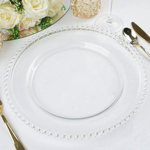 "8 Pack | 12"" Round Clear Beaded Rim Glass Charger Plates"