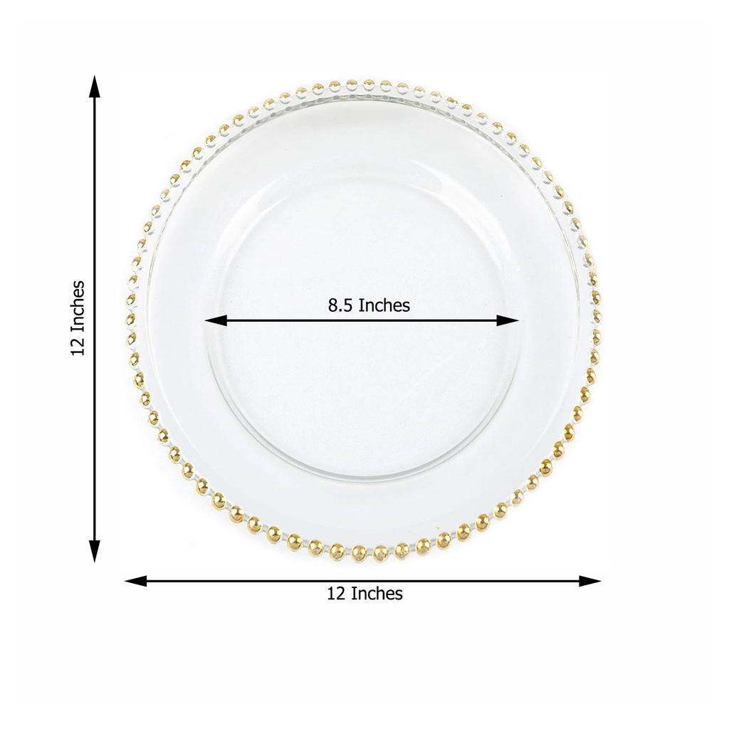 8 Pack 12 Round Gold Beaded Rim Glass Charger Plates Tableclothsfactory