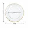 "8 Pack | 12"" Round Gold Beaded Rim Glass Charger Plates"