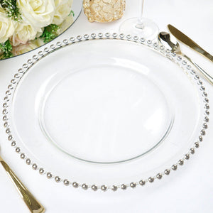 "8 Pack Round 12"" Silver Rim Glass Charger Plates Wedding Party Dinner Servers"