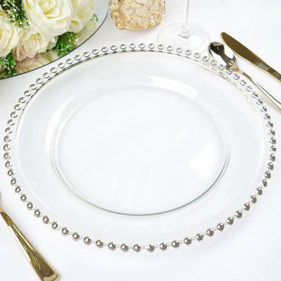 "8 Pack | 12"" Round Silver Beaded Rim Glass Charger Plates"