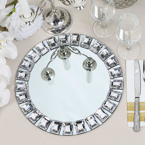 "2 Pack - 13"" Silver Jeweled Rim Premium Glass Mirror Charger Plates"
