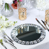 Silver Jeweled Glass Charger Plates, Crystal Charger Plates, Mirrored Charger Plates