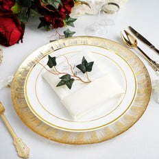 Gold Rim Charger Plates | Glass Charger Plates | Tablecloths Factory