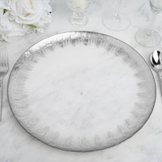 "8 Pack | 13"" Silver Rim Glass Charger Plates 