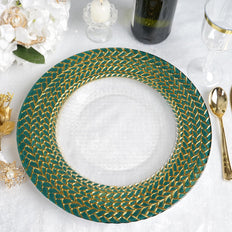 "8 Pack | 13"" Clear Round Decorative Glass Charger Plates with Teal Green and Gold Braided Rim"