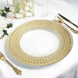 "8 Pack | 13"" Clear Round Decorative Glass Charger Plates with Silver and Gold Braided Rim"