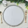 Set of 2 | 13 inch Round Silver Mirror Glass Charger Plates with Large Pearl Beaded Rim