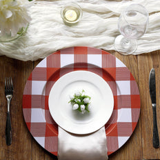 4 Pack | 13 inch Red/White Buffalo Plaid Metal Charger Plates