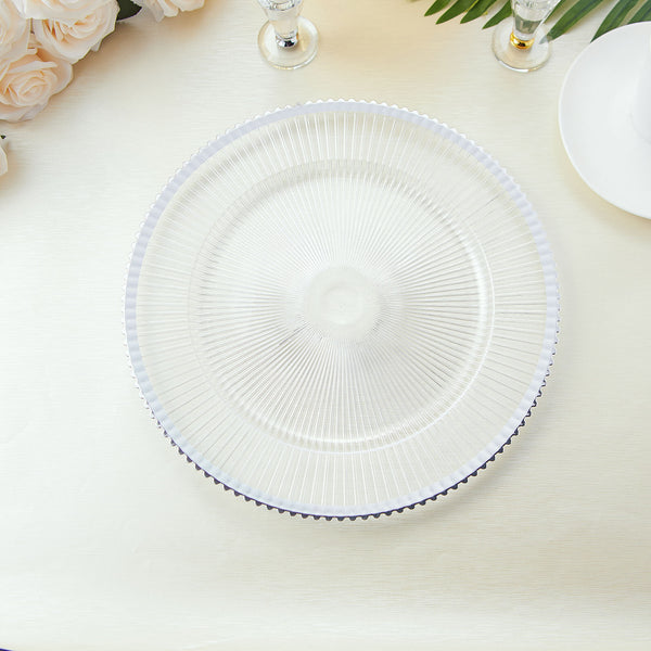 "6 Pack | 13"" Round Sunray Clear Plastic Charger Plates with Wavy Silver Rim"