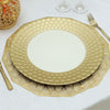 6 Pack | 13 inch Round Gold Plastic Charger Plates with Mermaid Scale Trim Design