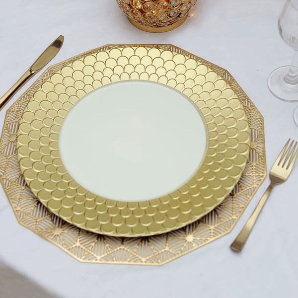 "6 Pack | 13"" Gold Round Plastic Charger Plates With Mermaid Scale Trim"