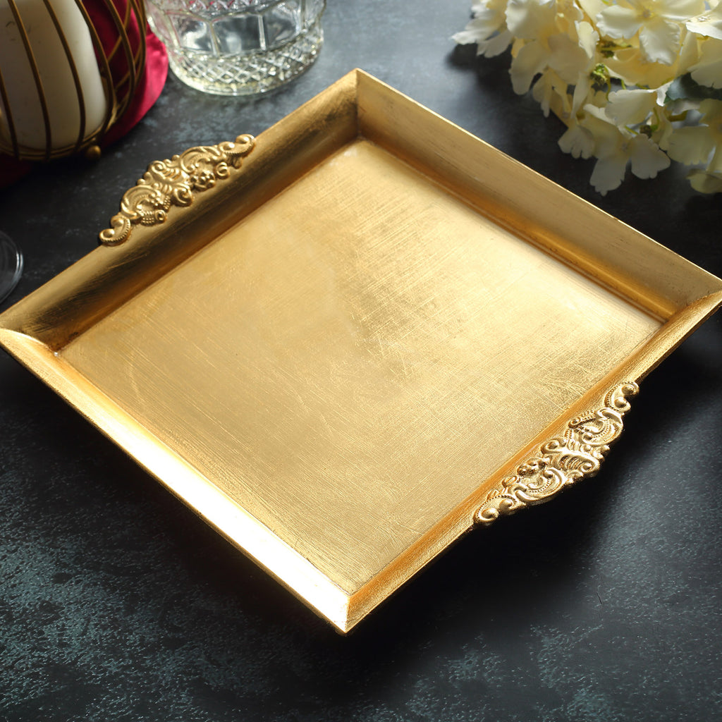 2 Pack 10 Gold Square Decorative Acrylic Serving Trays With Embossed Rims Tableclothsfactory