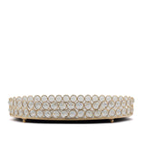 "12"" x 8"" Gold Metal Crystal Beaded Decorative Serving Tray 