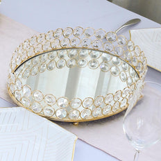 "14"" x 10"" Gold Metal Decorative Serving Tray 
