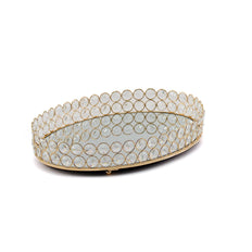 "16"" x 12"" Gold Metal Decorative Serving Tray 