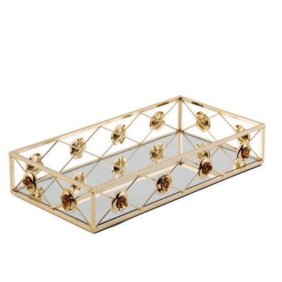 "Set of 2 | Gold Metal Decorative Serving Trays | Floral Bordered Rectangle Mirror Trays - 19""x12"" 