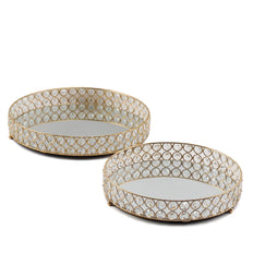 Set of 2 | Gold Metal Crystal Beaded Decorative Serving Trays | Round Mirrored Vanity Trays | 15"