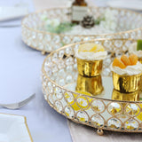 Set of 2 | Gold Metal Crystal Beaded Decorative Serving Trays | Round Mirror Trays - 15.5"